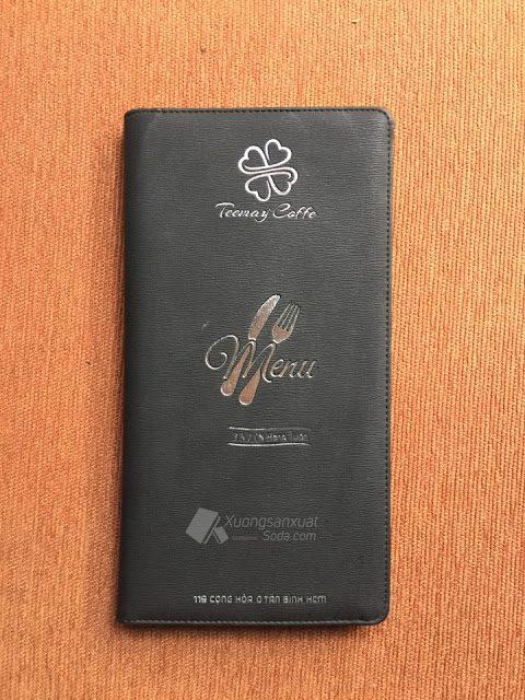 Bìa menu cafe Teemay Coffee ép nhũ bạc