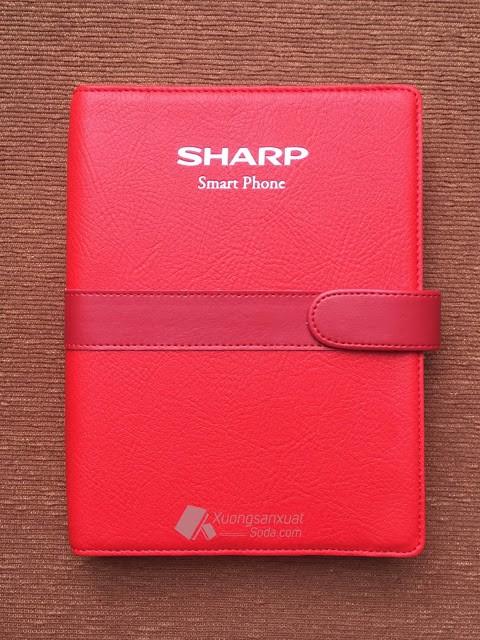 Sổ Bìa Da Ép Nhũ Bạc Sharp Smartphone 164