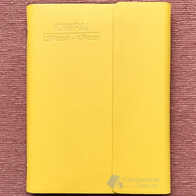 Sổ Tay Bìa Da Màu Vàng Dập Logo Tập Đoàn Kim Pai 160