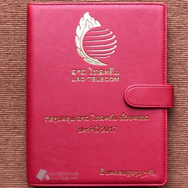 Sổ Còng Bìa Da Ép Nhũ Vàng Lào Telecom 159
