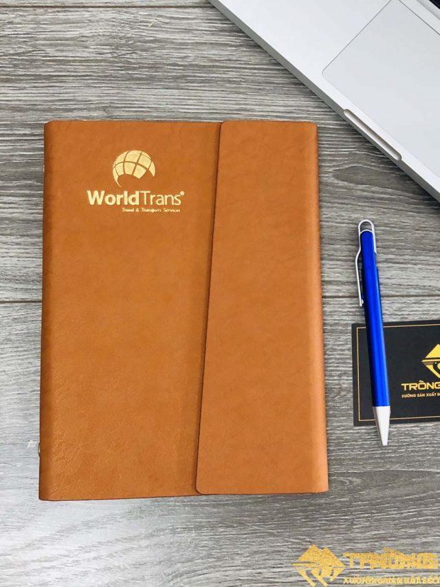 Sổ Da Bìa Còng Ép Nhũ Vàng Logo WorldTrans 210