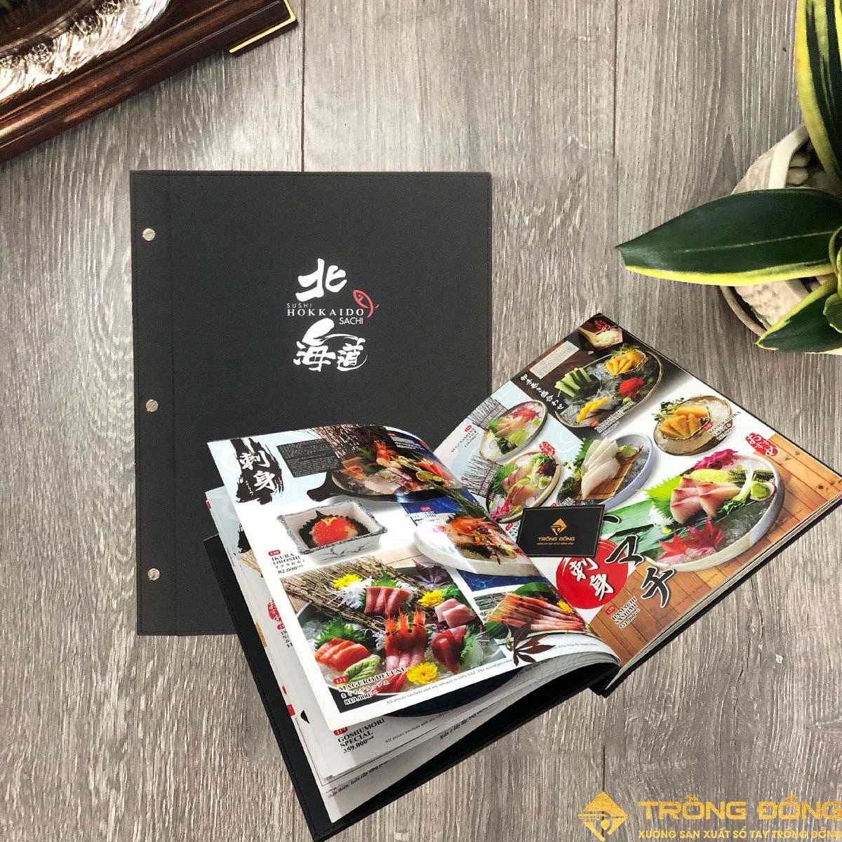 Ruột Menu Bìa Da Gáy Đóng Ốc SUSHI HOKKAIDO SACHI 213