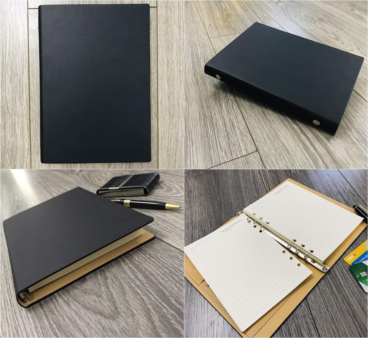 Mẫu sổ bìa da có sẵn mẫu 006 màu đen