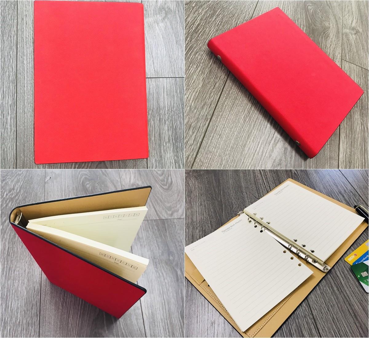 Mẫu sổ bìa da có sẵn mẫu 006 màu đỏ