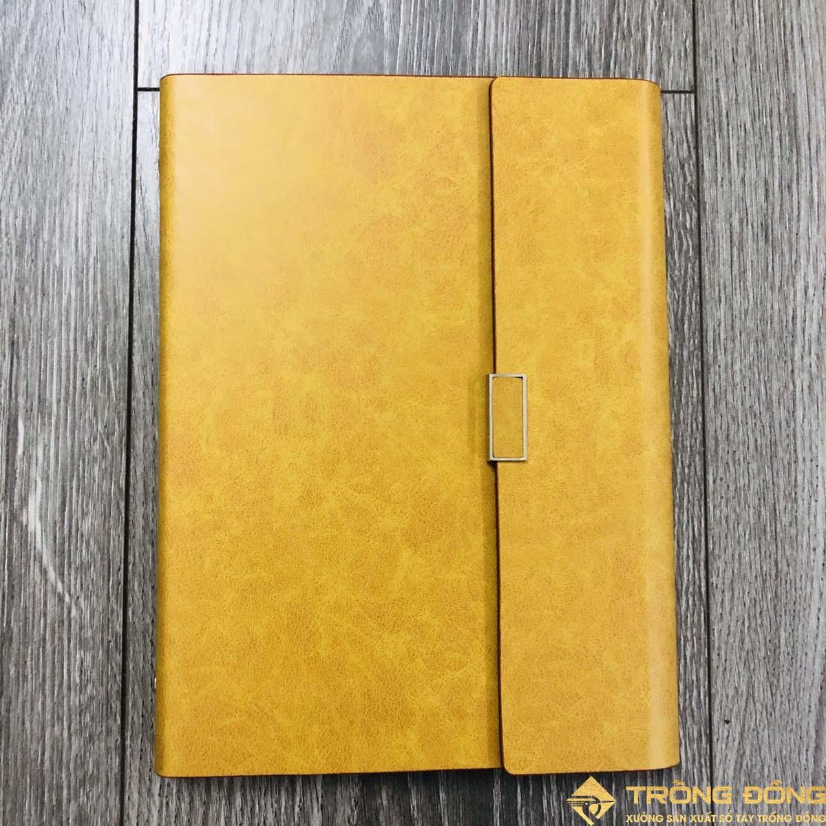 Mẫu sổ bìa da PU có sẵn nắp gập màu vàng cao cấp