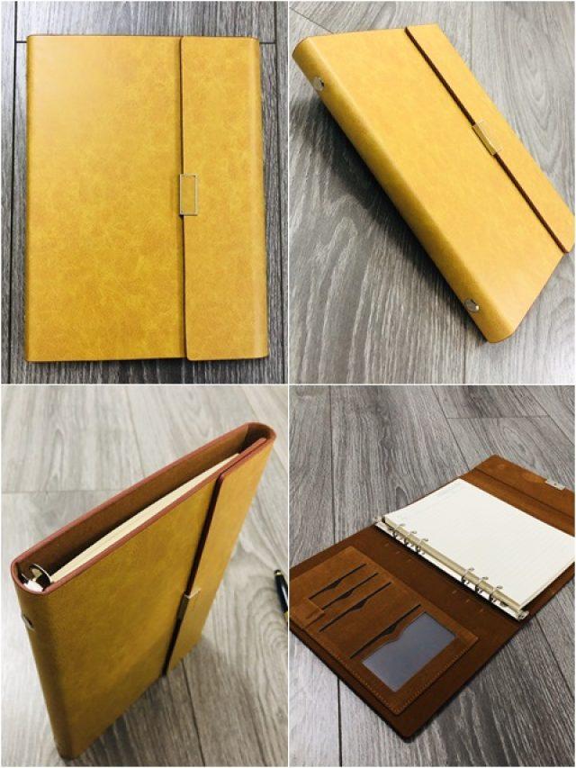Sổ Lăn Sơn A5 Gập 3 Còng Đường Kính 1.5cm Màu Vàng – Mã LSA5-01B