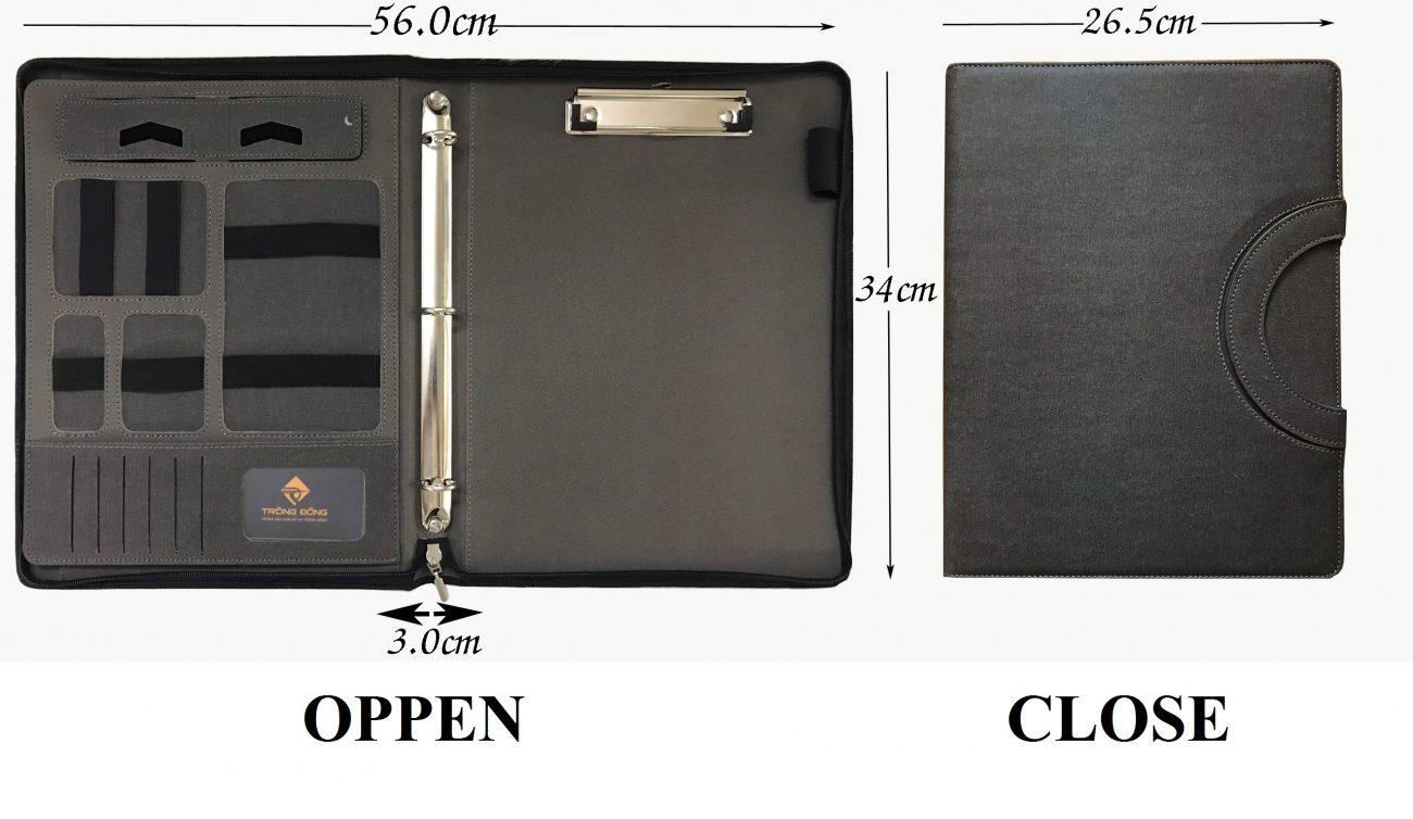 Kích thước của cặp da đựng tài liệu đa năng khi mở ra và đóng lại