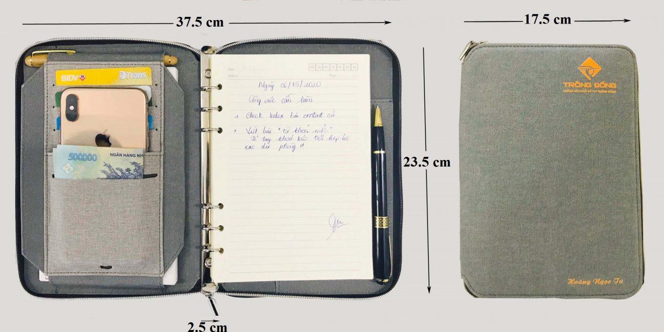 Kích thước của sổ da A5 khóa kéo khi mở và đóng lại.