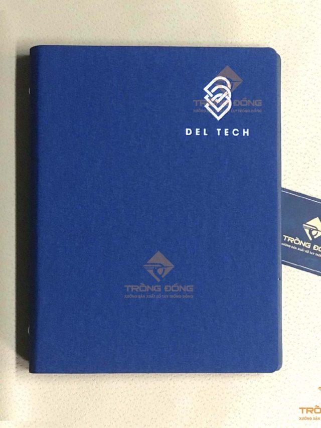 Sổ Da Bìa Còng Ép Nhũ Bạc Logo DEL TECH 214