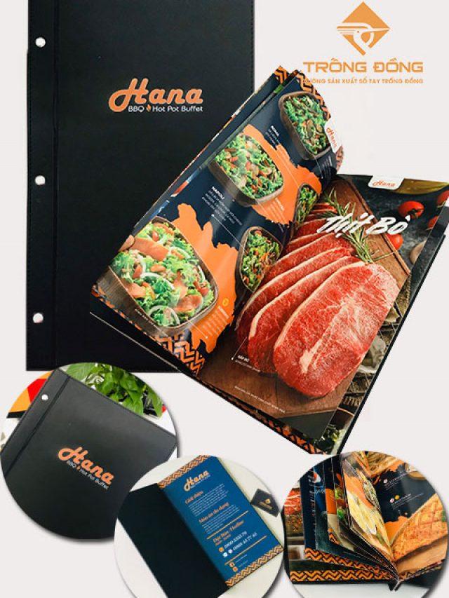 Menu Bìa Da In Logo Nhà Hàng HANA BBQ – 220
