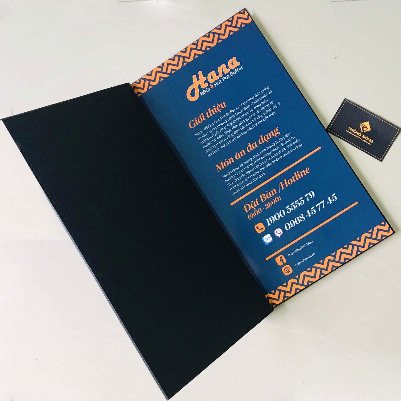 Xưởng sản xuất menu bìa da, in logo lên menu da, bìa da